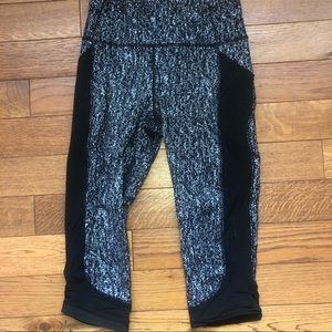 Lululemon compression style crops with mesh detail